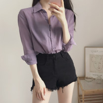 shirt violet S. M, l, XL, 2XL, XXXs pre-sale Autumn 2020 other 81% (inclusive) - 90% (inclusive) Long sleeves commute Regular Single row multi button routine Solid color 18-24 years old Straight cylinder Korean version