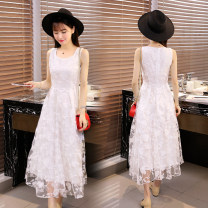 Dress Summer of 2019 white S. M, l, XL, 2XL, XXXs pre-sale longuette singleton  Sleeveless commute High waist Solid color Socket Big swing routine camisole 18-24 years old Type A Other / other Korean version 51% (inclusive) - 70% (inclusive) Lace