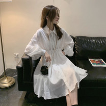 Women's large Spring 2020 White, black M [suggested 100-110 kg], l [suggested 110-120 kg], XL [suggested 120-140 kg], 2XL [suggested 140-160 kg], 3XL [suggested 160-180 kg], 4XL [suggested 180-200 kg] Dress singleton  commute Long sleeves Solid color Korean version Polo collar other bishop sleeve