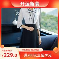 Dress Autumn of 2018 black and white S,M,L,XL,XXL Middle-skirt singleton  stand collar middle-waisted Socket A-line skirt pagoda sleeve Yalibao LGF1811126G