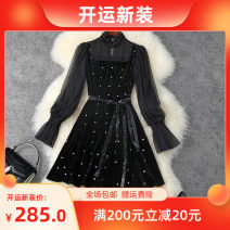 Dress Autumn 2020 black S,M,L,XL Short skirt Fake two pieces Long sleeves Half high collar High waist Solid color zipper A-line skirt pagoda sleeve Type X LANYAYI T11381