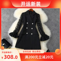Dress Autumn 2020 black S,M,L,XL Short skirt singleton  Long sleeves tailored collar High waist Solid color double-breasted A-line skirt pagoda sleeve Type A LANYAYI