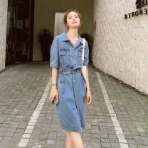 Women's large Summer 2021 Denim Large L, large XL, s, M Dress singleton  commute easy thin Cardigan Short sleeve Solid color Korean version Polo collar routine Denim Make old routine XD097-F2060 MAJE BRIAN Button 51% (inclusive) - 70% (inclusive) Medium length other