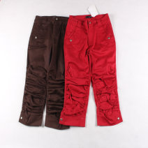 Casual pants Red, coffee 160/64A,165/68A,170/72A Summer of 2019 Cropped Trousers Natural waist routine 96% and above cotton cotton