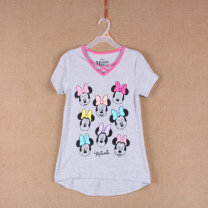 T-shirt grey Other / other (4 / 5 (XS) for 4-5 years old), (6 / 7 (s) for 6 / 7 years old), (8 (m) for 8 years old), (10 / 12 (L) for 10-12 years old), (14 / 16 (XL) for 14-16 years old) female summer Short sleeve V-neck Cartoon animation Sweat absorption