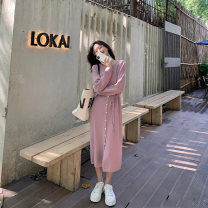 Dress Winter 2020 S,M,L Mid length dress singleton  Long sleeves commute Crew neck middle-waisted Solid color Single breasted other routine Others Type H HUCHUJING Korean version 71% (inclusive) - 80% (inclusive) other other
