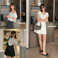 shirt White lychee jacket, Xianxian want to drop dress S,M,L Summer 2020 cotton 71% (inclusive) - 80% (inclusive) Short sleeve commute Short style (40cm < length ≤ 50cm) One word collar Socket routine Solid color Straight cylinder HUCHUJING Korean version cotton