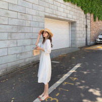 Dress Spring 2021 Bubble blue spot, cream yellow spot, first love white spot, taro Bobo purple spot XS,S,M,L Mid length dress Two piece set Long sleeves commute V-neck Elastic waist Solid color Single breasted routine 25-29 years old my Little mushroom biu Korean version