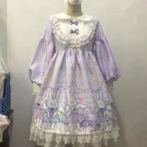 Dress Autumn of 2019 Blue OP long sleeve dress, purple OP long sleeve dress, purple OP Long Sleeve Dress + star veil, blue OP Long Sleeve Dress + star veil S,M,L Mid length dress singleton  Long sleeves Sweet Doll Collar High waist 18-24 years old Type A other Lolita