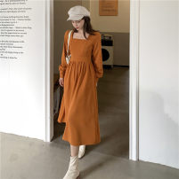 Dress Winter 2020 Black, Caramel S, M Miniskirt singleton  Long sleeves commute square neck High waist Solid color Socket A-line skirt other Others 18-24 years old Type A Korean version 91% (inclusive) - 95% (inclusive) other polyester fiber