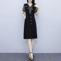 Dress Summer 2021 black Big L, big XL, big 2XL, big 3XL, big 4XL, big 5XL Mid length dress Fake two pieces Short sleeve commute V-neck High waist Broken flowers other A-line skirt routine Others Type A Korean version 3.29-3 51% (inclusive) - 70% (inclusive) other other