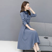 Dress Autumn of 2019 Blue, gray, black S,M,L,XL,2XL,3XL Mid length dress singleton  Long sleeves commute Doll Collar middle-waisted Solid color zipper Big swing routine Others Type A Other / other Korean version 51% (inclusive) - 70% (inclusive) other polyester fiber