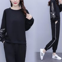 Women's large Spring 2021 black Large XL, large XXL, large XXL, large XXXXL, large XXXXL, large L trousers Two piece set commute easy moderate Socket Long sleeves Solid color Korean version Crew neck routine polyester fiber Three dimensional cutting raglan sleeve pocket trousers