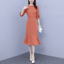 Dress Summer 2021 Picture color M,L,XL,2XL,3XL,4XL,5XL Mid length dress singleton  elbow sleeve commute Crew neck High waist Solid color zipper One pace skirt routine Others Type A Korean version 3.16-5 51% (inclusive) - 70% (inclusive) other polyester fiber