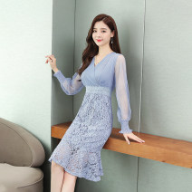 Dress Autumn of 2019 White, light yellow, black, yellow, blue long sleeves, white short sleeves, pink, blue short sleeves S,M,L,XL,2XL Mid length dress singleton  Long sleeves commute V-neck middle-waisted Solid color Socket other other Others Type H Other / other Korean version Lace other