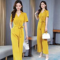 Casual pants M,L,XL,XXL,XXXL Summer 2020 Ninth pants Wide leg pants High waist commute Thin money 51% (inclusive) - 70% (inclusive) Other / other other Korean version polyester fiber