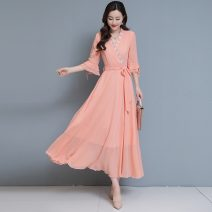 Dress Spring 2021 White, pink, purple, yellow, black M,L,XL,2XL,3XL longuette singleton  Long sleeves commute V-neck High waist Solid color Socket A-line skirt routine Others Type A Korean version Splicing 2.16-5 51% (inclusive) - 70% (inclusive) Chiffon polyester fiber