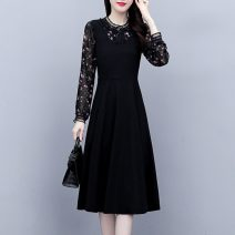 Women's large Spring 2021, autumn 2021 Black, black short sleeve, 0231 black, 0230 black, 0225 black, 0251 black M [90-105 Jin], l [105-115 Jin], XL [115-130 Jin], 2XL [130-145 Jin], 3XL [145-160 Jin], 4XL [160-180 Jin], 5XL [180-200 Jin] Dress Fake two pieces commute Self cultivation moderate Socket