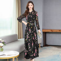 Dress Spring 2020 Pink, Navy, rose S,M,L,XL,2XL,3XL,4XL longuette singleton  Long sleeves commute Crew neck High waist Decor zipper Big swing other Others Type A Other / other Korean version 51% (inclusive) - 70% (inclusive) Chiffon polyester fiber