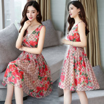 Dress Summer of 2019 Design and color S,M,L,XL Mid length dress singleton  Sleeveless commute V-neck High waist Decor Socket Princess Dress 18-24 years old Type A lady Pleat, fold, print 71% (inclusive) - 80% (inclusive) Chiffon polyester fiber