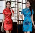 cheongsam Spring of 2019 Short sleeve Short cheongsam Retro Low slit perform Oblique lapel other 18-25 years old Piping Other / other silk 81% (inclusive) - 90% (inclusive)