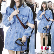 Dress Autumn of 2019 wathet S,M,L,XL Middle-skirt singleton  Long sleeves commute Polo collar High waist Solid color Single breasted A-line skirt Bat sleeve Others Type A MAJE BRIAN Korean version Pockets, rags, buttons More than 95% Denim cotton