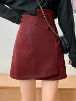 skirt Autumn 2020 S,M,L Red, black, coffee Short skirt commute High waist Irregular Solid color Type A 18-24 years old Ezrin Korean version