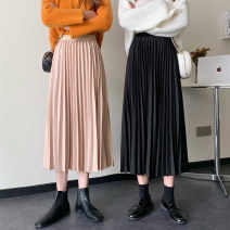 skirt Autumn 2020 Average size Apricot, black heart Mid length dress commute High waist A-line skirt Solid color Type A 18-24 years old sXswP 30% and below other Ezrin other Korean version