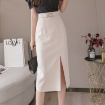 skirt Summer 2021 S,M,L,XL Apricot, black Mid length dress commute High waist skirt Solid color Type A 18-24 years old 51% (inclusive) - 70% (inclusive) other Zipper, stitching Korean version