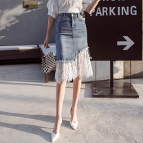 skirt Summer 2021 S,M,L,XL wathet Mid length dress commute High waist Irregular Type A 18-24 years old 51% (inclusive) - 70% (inclusive) Denim cotton Pocket, asymmetric, button, mesh, stitching Korean version 401g / m ^ 2 (inclusive) - 500g / m ^ 2 (inclusive)