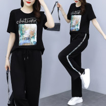 Women's large Summer 2021 black Large XL, large XXL, large XXL, large XXXXL, large XXXXL trousers Two piece set commute easy moderate Socket Short sleeve letter Crew neck Medium length polyester Three dimensional cutting routine Other / other 25-29 years old Ninth pants