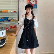 Women's large Spring 2021, summer 2021, autumn 2021 black M. Large L, large XL, 2XL, 3XL, 4XL Dress Fake two pieces commute moderate Korean version 18-24 years old