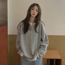 Women's large Autumn 2020 Gray, black M [recommended 80-100 Jin], l [recommended 100-120 Jin], XL [120-140 Jin], 2XL [140-160 Jin recommended], 3XL [160-180 Jin recommended], 4XL [180-200 Jin recommended] T-shirt commute moderate Long sleeves Solid color Korean version Crew neck Medium length other