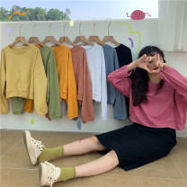 Women's large Autumn 2020 Ginger  , white , green , black , Grey blue , Berry red , orange , Cream yellow M [recommended 90-110 kg], l [recommended 110-120 kg], XL [recommended 120-140 kg], 2XL [recommended 140-155 Jin], 3XL [155-170 Jin recommended] T-shirt commute easy Long sleeves Solid color