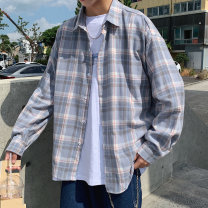 shirt Youth fashion Men's and women's shops S,M,L,XL,XXL routine Button collar Long sleeves standard Other leisure spring teenagers tide 2019 stripe Plaid washing other Easy to wear