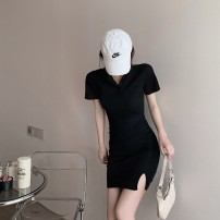Dress Summer 2021 Black, gray, white Average size Short skirt singleton  Short sleeve Polo collar High waist One pace skirt routine 18-24 years old More than 95%