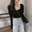 T-shirt White, black S,M,L,XL Autumn 2020 Long sleeves square neck Self cultivation Regular puff sleeve commute cotton 96% and above 25-29 years old Korean version youth Solid color