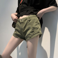 Jeans Summer 2020 Army green S,M,L Super shorts low-waisted routine Wear, white, flanging, multiple pockets, scratch lines 31% (inclusive) - 50% (inclusive)