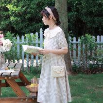 Dress Summer 2020 Khaki Short Sleeve (stock), khaki long sleeve Average size Mid length dress Short sleeve Loose waist lattice More than 95% cotton