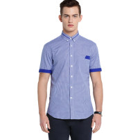 shirt Business gentleman Ports S M L XL BLUE CHECK NAVY CHECK LT BLUE CHECK PURPLE CHECK routine Pointed collar (regular) Short sleeve Self cultivation Other leisure MB8B207AFC118 Cotton 100% Summer 2016