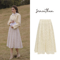 skirt Winter 2020 S,M,L Picture color (spot), take delivery within 7 days longuette commute High waist A-line skirt Broken flowers Type A 18-24 years old since then polyester fiber fold Retro