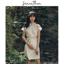 cheongsam Summer of 2019 S,M,L Picture color (spot), take delivery within 7 days Short sleeve Short cheongsam Retro Low slit daily 18-25 years old Other / other