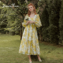 Dress Summer 2020 Picture color (in stock) S,M,L longuette singleton  Long sleeves commute square neck High waist Broken flowers zipper puff sleeve 18-24 years old since then Retro CQ200733 More than 95% other polyester fiber