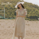 Dress Spring 2020 Picture color (in stock) S,M,L longuette singleton  Sleeveless commute V-neck High waist Decor Big swing 18-24 years old Type A since then Retro CQ191148 More than 95% nylon