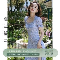 Dress Summer 2021 Spot, pre-sale, spot (Sakurai), pre-sale (Sakurai) S,M,L Mid length dress singleton  Short sleeve commute square neck High waist Decor Socket A-line skirt other Others 18-24 years old Type A since then Retro CQ210377 Chiffon