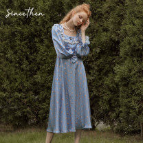 Dress Autumn 2020 Picture color (in stock) S,M,L longuette singleton  Long sleeves commute square neck High waist Decor Big swing bishop sleeve Others 18-24 years old Type A since then Retro More than 95% polyester fiber