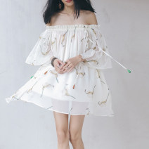 Dress Summer 2016 Off white Average size Short skirt singleton  three quarter sleeve commute One word collar Loose waist Decor Big swing Flying sleeve Breast wrapping Type H since then Retro