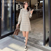 Dress Autumn 2020 Picture color S,M,L,XL Short skirt singleton  Long sleeves commute Doll Collar High waist lattice Single breasted A-line skirt shirt sleeve Others 18-24 years old Type H Korean version Stitching, asymmetry, buttons 51% (inclusive) - 70% (inclusive) cotton