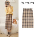 skirt Winter of 2019 S,M,L,XL Picture color Mid length dress commute High waist skirt lattice Type A 18-24 years old 30% and below Wool Other / other Zipper, stitching Korean version