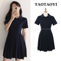 Dress Summer 2021 Navy blue, black S,M,L,XL Short skirt singleton  Short sleeve Sweet Polo collar High waist Solid color Socket Pleated skirt routine Others 18-24 years old Type A Pleats, stitching, buttons, zippers 71% (inclusive) - 80% (inclusive) cotton college